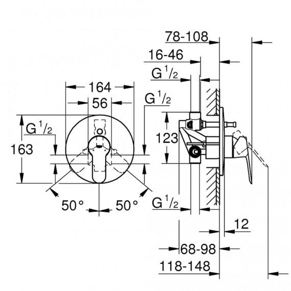 Grohe Bauedge - Miscelatore cromo doccia con deviatore corpo incasso 29079000