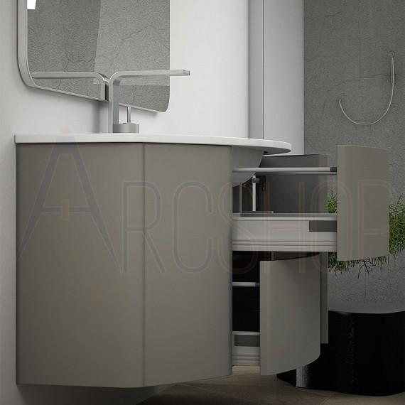 Mobile da bagno 90 cm grigio talpa sospeso con cassettoni soft close specchiera LED retroilluminata e colonna 170 cm