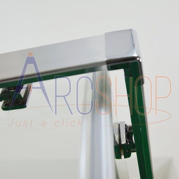 Cabina doccia due lati 90X90 regolabile lastra cristallo 6 mm e profilo flat alluminio cromo h 195