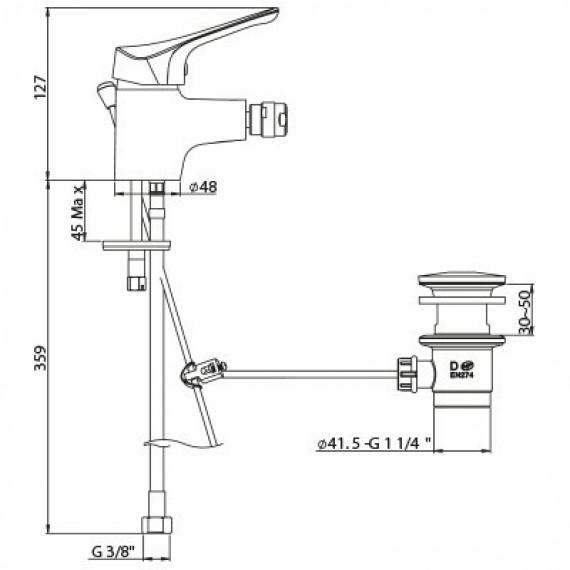 Miscelatore bidet Ariel ottone cromato MADE IN ITALY con PILETTA DI SCARICO INCLUSA 0RE00094A16