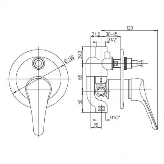 Miscelatore doccia incasso con deviatore monoleva Ariel ottone cromato MADE IN ITALY 0RE00400A16
