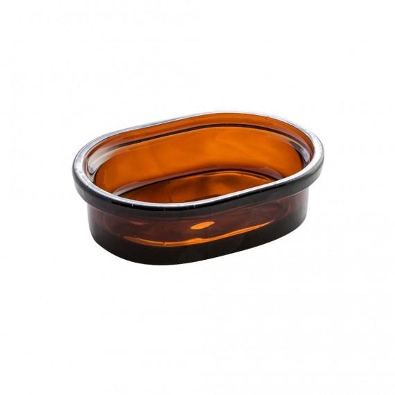 Set accessori 4 pezzi in vetro ambra serie Pharmacy di Cipì Dispenser Bicchiere Porta sapone Scopino