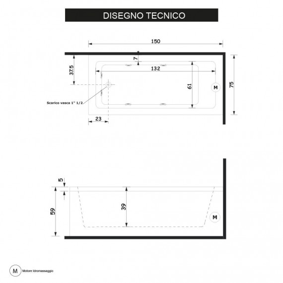 Vasca Treesse da Bagno Idromassaggio 150 x 75 cm, Cod STDV0707