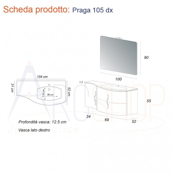 Mobile Da Bagno Grigio Natura Sospeso Ad Onda 105 Cm Con