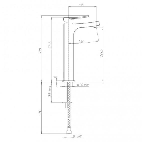 Miscelatore lavabo alto + bidet + incasso doccia Jacuzzi | rubinetteria Tank ottone cromato per piletta click clack