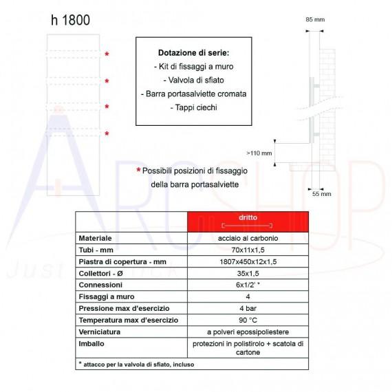 Termoarredo a piastra Lazzarini Ischia 1800x450 mm bianco cod. 383753