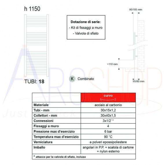 Lazzarini termoarredo combinato Merano 1150X500 mm curvo cromo design 386280