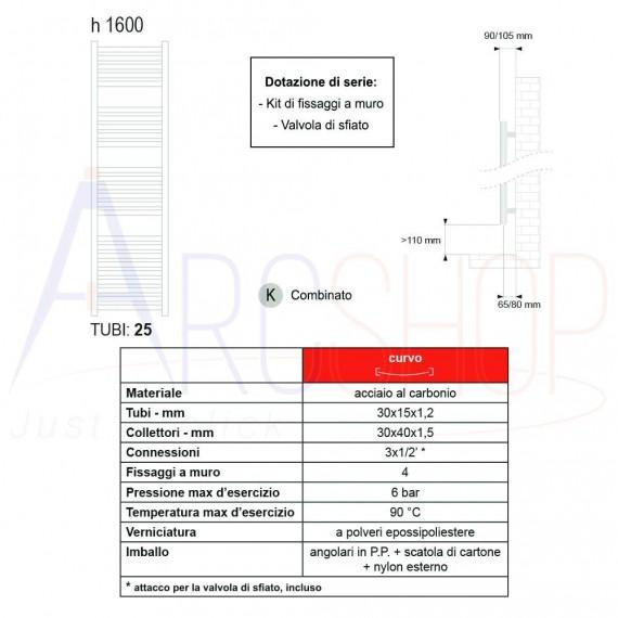 Termoarredo combinato Lazzarini Merano 1600X500 mm curvo cromo design 386282