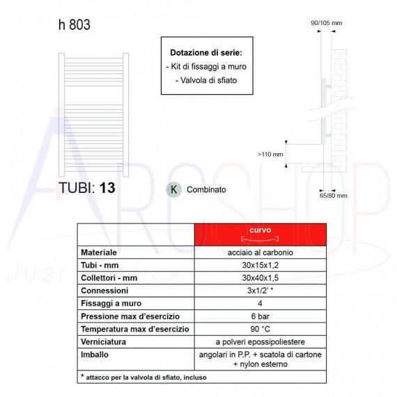 Scaldasalviette Lazzarini design Merano 803X500 mm curvo cromo combinato 386278