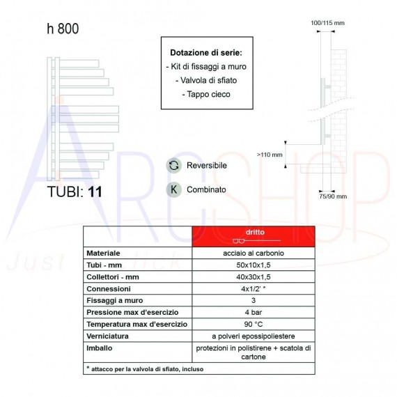 Termoarredo Way by Lazzarini Spinnaker 800X463 mm bianco reversibile (sx/dx) design vela 383755