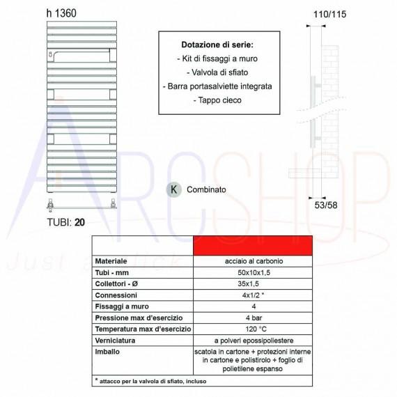 Termoarredo combinato Lazzarini Torino 1360x550 mm
