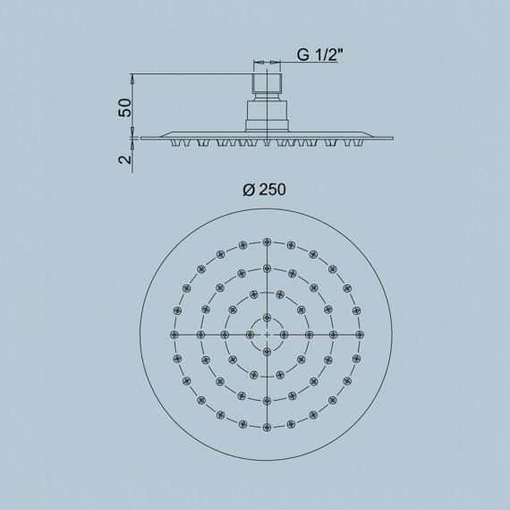 Set doccia Jacuzzi | Rubinetteria tondo con doccetta soffione ultrapiatto tondo 25 cm e braccio doccia