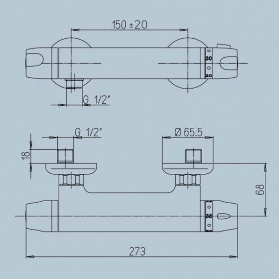 Miscelatore termostatico Jacuzzi rubinetteria esterno Shine