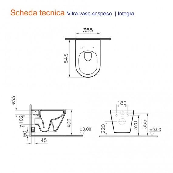 Vaso wc rimless Vitra Integra sospeso