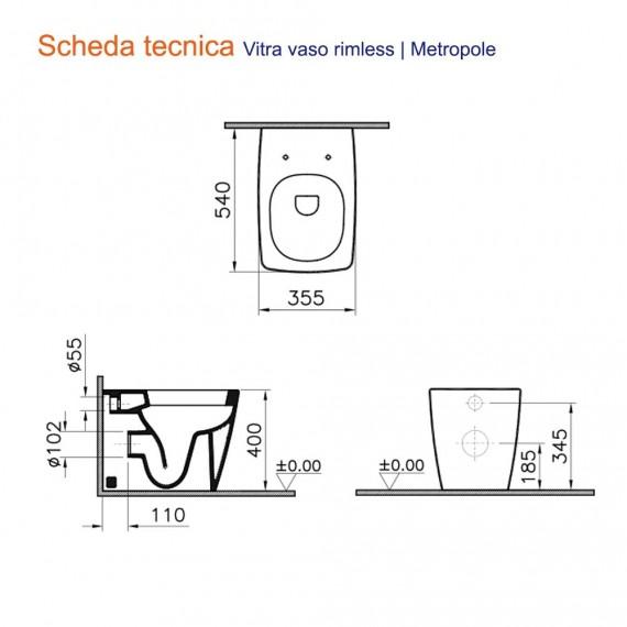 Metropole Vitra Sanitari wc e Bidet Bianco opaco filo muro