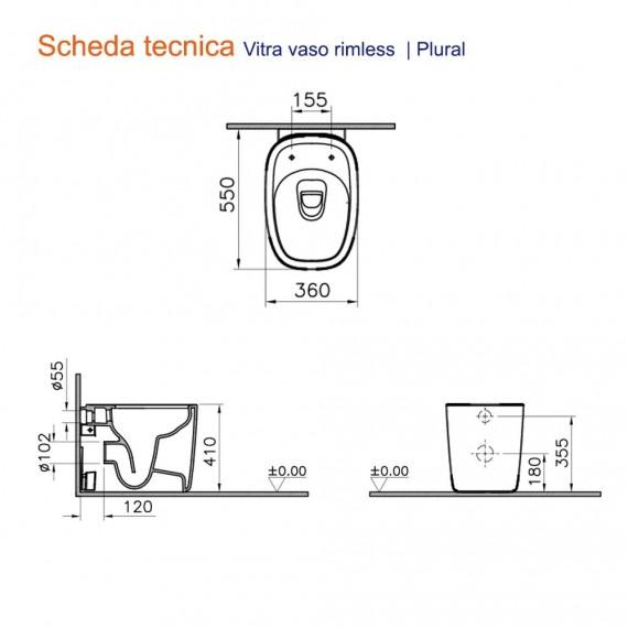 Sanitari filo muro Vitra wc rimless e bidet a terra