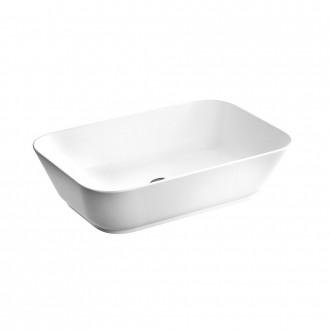 Lavabo da appoggio rettangolare Geo Soft Square in ceramica bianco lucido