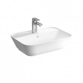 Lavabo da appoggio con foro rubinetto Soft Square Bianco lucido rettangolare 60 cm Vitra ceramica