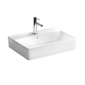 Lavabo da appoggio rettangolare serie Nuo di Vitra Sanitari con foro rubinetto ceramica bianca