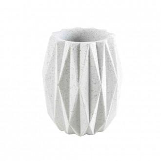 Bicchiere porta spazzolini Cip� serie Geo White in resina pigmentata