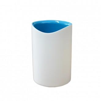 Bicchiere porta spazzolini in resina bicolore bianco e blu serie Idol di Cip�