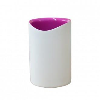 Bicchiere porta spazzolini serie Idol di Cipì in resina bicolore bianco e rosa