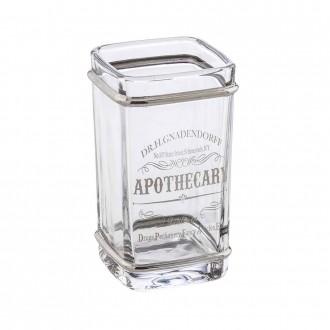 Bicchiere porta spazzolini da appoggio Retr� di Cip� in vetro decorato silver