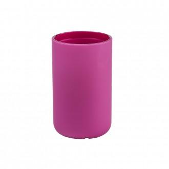 Bicchiere porta spazzolini Cipì in resina soft touch serie True Colors fucsia