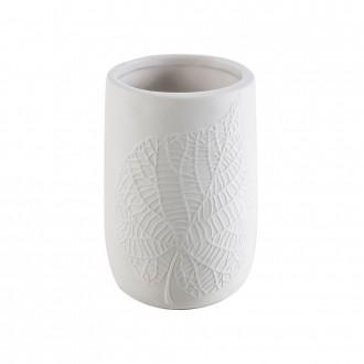 Bicchiere porta spazzolini da appoggio White Leaves in ceramica Cip� decoro foglia a rilievo