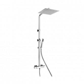 Colonna doccia Jacuzzi | rubinetteria Glint 91 ottone cromato altezza regolabile con miscelatore termostatico e soffione 20x20 cm 0IQ00199JA01