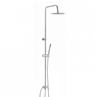 Colonna doccia tonda regolabile in acciaio con deviatore integrato doccetta monogetto e soffione tondo ultraslim 20 cm