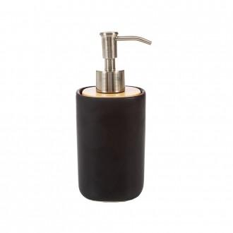 Dispenser da appoggio nero in ceramica e legno serie Plain di Cip�