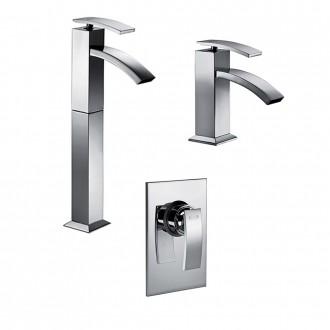 Set miscelatori lavabo alto + bidet + incasso doccia Jacuzzi | rubinetteria Glint ottone cromato con PILETTA DI SCARICO INCLUSA