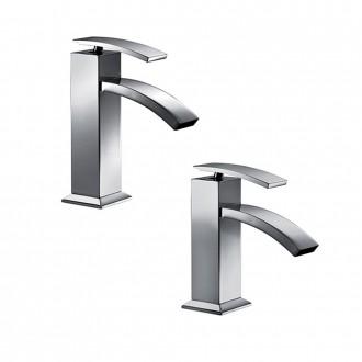 Set miscelatori lavabo + bidet Jacuzzi | rubinetteria Glint ottone cromato con PILETTA DI SCARICO INCLUSA
