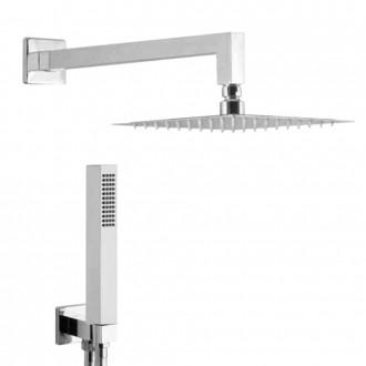 Set doccia con braccio a parete soffione quadrato ultrapiatto 20 cm e doccetta