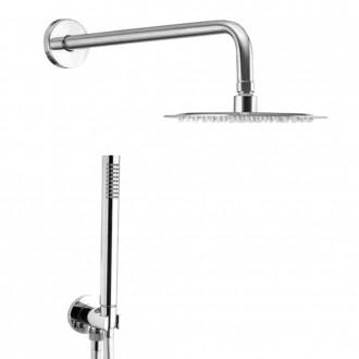 Set doccia completo di braccio a parete soffione tondo ultrapiatto 30 cm e doccetta