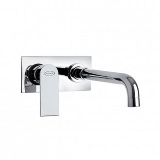 Miscelatore lavabo a muro con piastra interasse 10 cm Jacuzzi | rubinetteria Twilight ottone cromato 0TI00497JA03