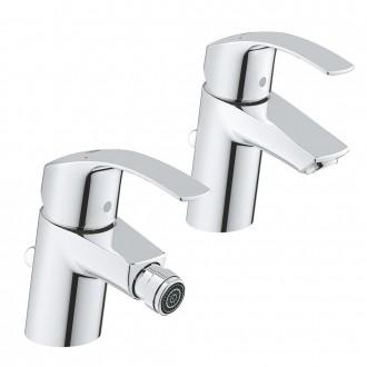Set Miscelatori Grohe Eurosmart lavabo e bidet in ottone cromato con piletta di scarico INCLUSA