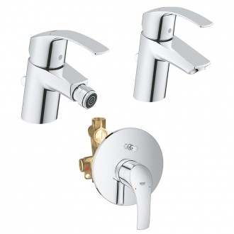 Set Miscelatori Grohe Eurosmart lavabo bidet e doccia incasso con deviatore in ottone cromato con piletta di scarico INCLUSA