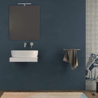 Mensolone bagno 60 cm con specchio e lampada Bianco opaco con staffe incluse