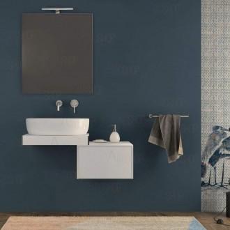 Mensolone bagno 60 cm con cassettone da 50 cm specchio e lampada Bianco opaco con staffe incluse