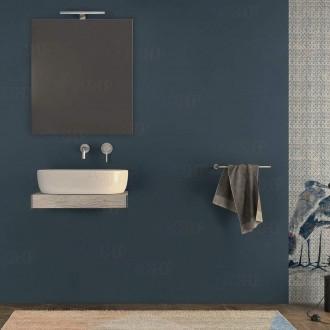 Mensolone bagno 60 cm con specchio e lampada Pino Sbiancato con staffe incluse