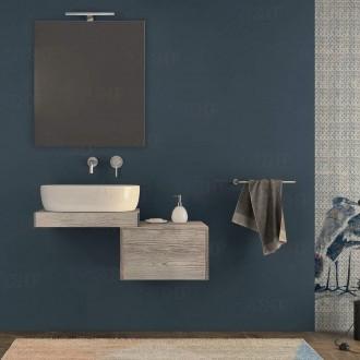 Mensolone bagno 60 cm con cassettone da 50 cm specchio e lampada Pino Sbiancato con staffe incluse