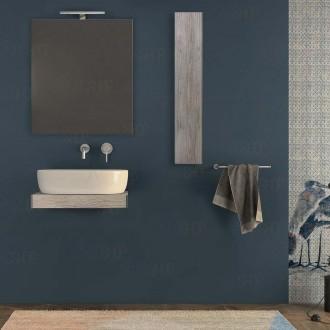 Mensolone bagno 60 cm con pensile specchio e lampada Pino Sbiancato con staffe incluse