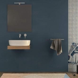 Mensolone bagno 60 cm con specchio e lampada Rovere tabacco con staffe incluse