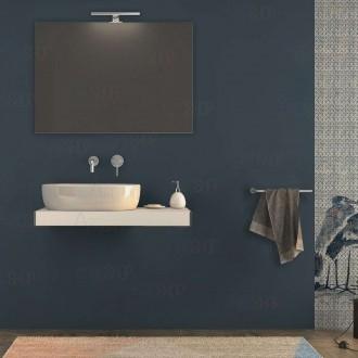 Mensolone bagno 90 cm Bianco opaco con specchio e lampada kit di fissaggio incluso
