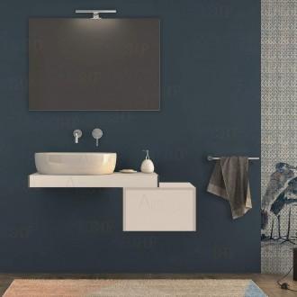 Mensolone bagno 90 cm Bianco opaco con cassetto 50 cm specchio e lampada kit di fissaggio incluso