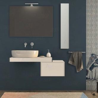 Mensolone bagno 90 cm Bianco opaco con pensile cassetto 50 cm specchio e lampada kit di fissaggio incluso