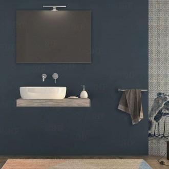 Mensolone bagno 90 cm Pino sbiancato con specchio e lampada kit di fissaggio incluso