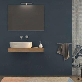 Mensolone bagno 90 cm Rovere tabacco con specchio e lampada kit di fissaggio incluso